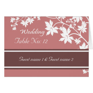 Pink Leaves Wedding Table Placecard Card