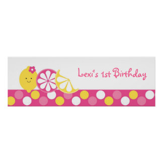 Pink Lemonade Birthday Banner Poster