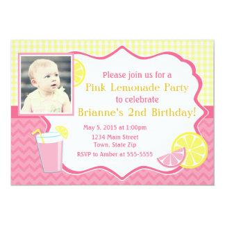 Pink Lemonade Birthday Invitation 5x7 Photo Card