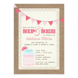 Pink Lemonade Burlap Inspired Sip & See Baby Girl Card