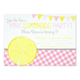 Pink Lemonade Girls Birthday Party Invitation