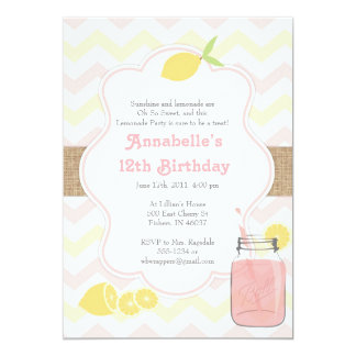 Pink Lemonade - Girly Soft Vintage Invitation