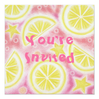 Pink Lemonade lemons invitation square