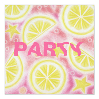 Pink Lemonade 'lemons' party invitation square