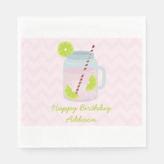 Pink Lemonade + Lime Birthday Napkins Disposable Serviette