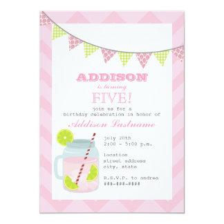 Pink Lemonade & Lime Chevron Birthday Card