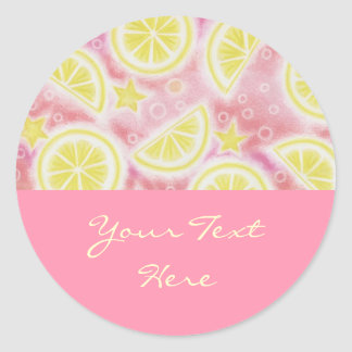 Pink Lemonade 'Your Text' sticker round pink