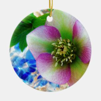 Pink Lenten Rose blue glass ball Christmas Ornament