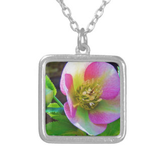 Pink Lenten Rose wildflowers Personalized Necklace
