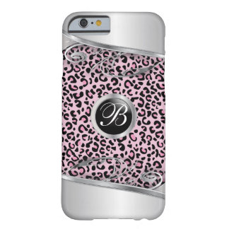 Pink Leopard and Metal Print   Monogram Barely There iPhone 6 Case