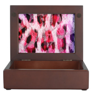 Pink leopard animal print keepsake box
