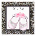 Pink Leopard Baby Shower Invitations