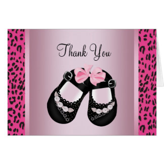 Pink Leopard Baby Shower Thank You Note Card