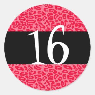 Pink Leopard Birthday Stickers