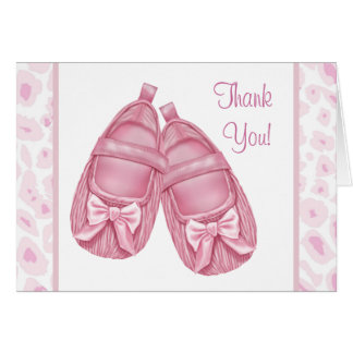 Pink Leopard Booties Baby Girl Thank You Cards Note Card
