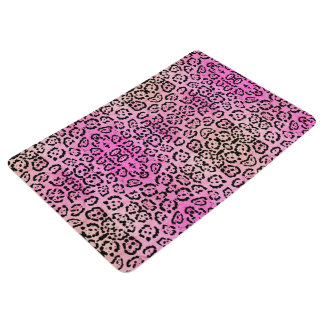 Pink Leopard Cat Animal Oil Paint Effect Floor Mat
