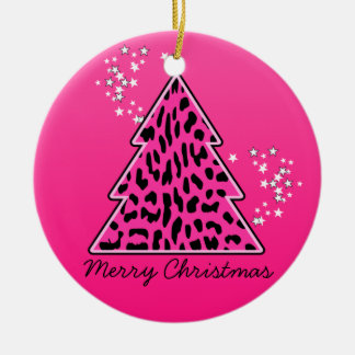 Pink Leopard Cheetah Christmas Tree Christmas Ornament
