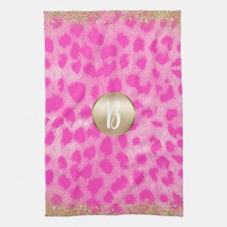 Pink Leopard Cheetah Print Gold Glitter Monogram Tea Towel