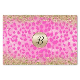 Pink Leopard Cheetah Print Gold Glitter Monogram Tissue Paper