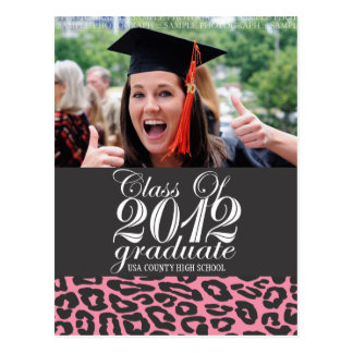 Pink Leopard Class of 2012 Graduation Postcard