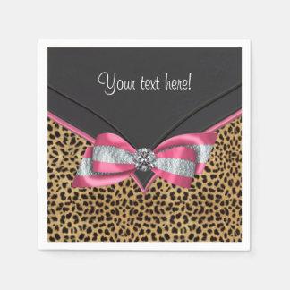 Pink Leopard Disposable Serviettes