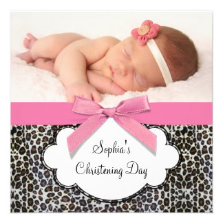 Pink Leopard Girl Photo Christening Invites