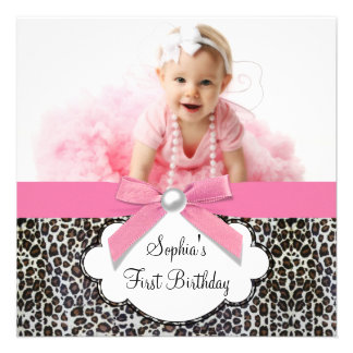 Pink Leopard Girls Photo 1st Birthday Party Custom Announcement