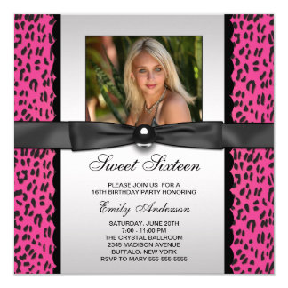 Pink Leopard Photo Sweet 16 Birthday Party 13 Cm X 13 Cm Square Invitation Card