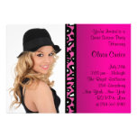 Pink Leopard Photo Sweet Sixteen Birthday Party Custom Invitations