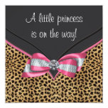 Pink Leopard Princess Baby Shower 13 Cm X 13 Cm Square Invitation Card
