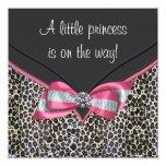 Pink Leopard Princess Baby Shower Invitations