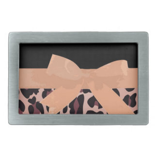 Pink Leopard Print and Bow Pattern Belt Buckle
