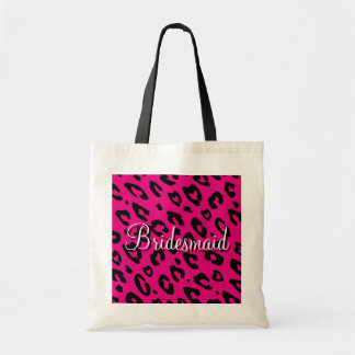 Pink leopard print bridesmaid wedding tote bag
