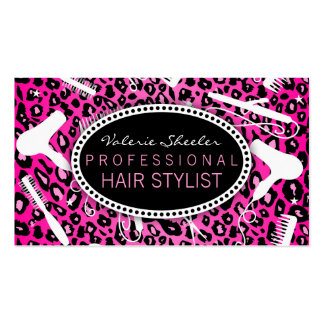 Pink Leopard Print Hair Salon Tools (Custom) Pack Of Standard Business Cards