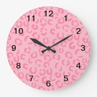 Pink Leopard Print Pattern. Wallclock