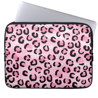 Pink Leopard Print Pattern. Laptop Sleeve