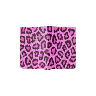 Pink leopard print pattern passport holder