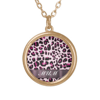 Pink leopard print personalized mothers gold plated necklace