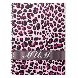 Pink leopard print personalized mothers notebook