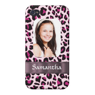 Pink leopard print photo template iPhone 4 cases