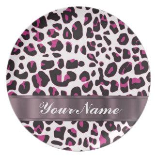 Pink leopard print plate