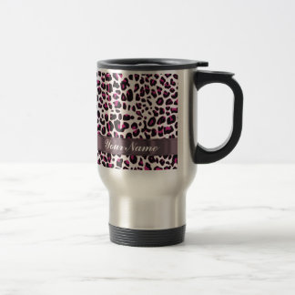 Pink leopard print stainless steel travel mug