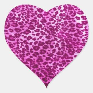 Pink leopard print heart stickers