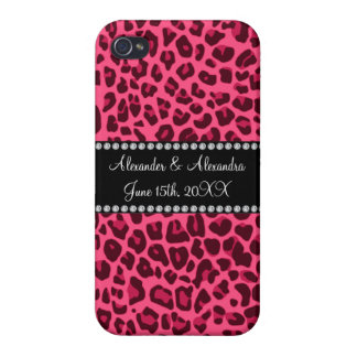Pink leopard print wedding favors covers for iPhone 4