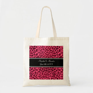 Pink leopard print wedding favors tote bag