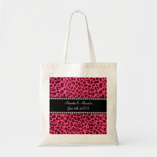Pink leopard print wedding favours budget tote bag