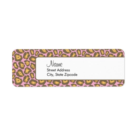 Pink Leopard Return Address Label