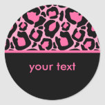 Pink Leopard Round Sticker
