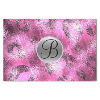 Pink Leopard Shine Elegant Monogram Letter Initial Tissue Paper