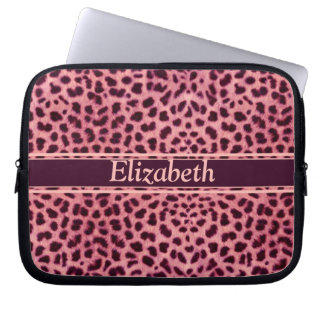 Pink Leopard Skin Pattern Personalize Computer Sleeve